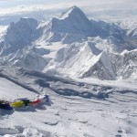 View towards Makalu from the summit of Everest