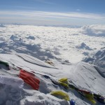 Prayer flags on the summit of Everest