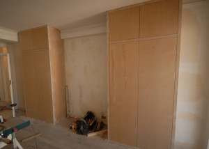 The finished cupboards - they just need painting!