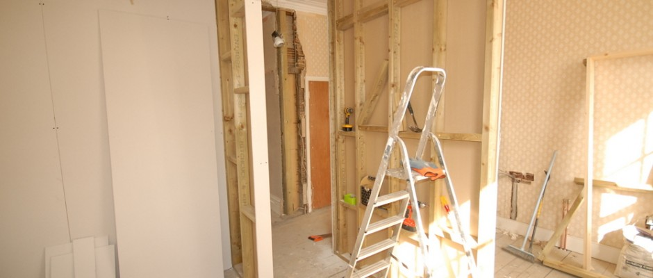 plasterboard going up (standing in main bedroom - on the right will be where new kitchen is going)