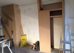 Building the second MDF cupboard in the bedroom