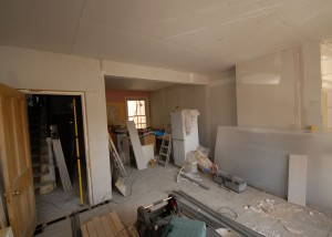 The kitchen / living room area - which has been plaster boarded out