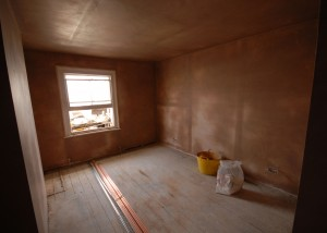 Newly plastered bedroom in the Battersea Loft conversion