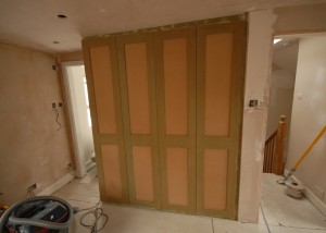 The bespoke MDF shaker style cupboards
