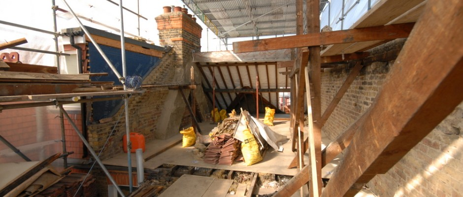 Removal of the roof to make way for the loft