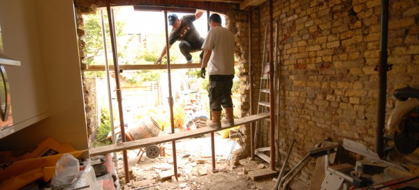 Preparing to remove the walls to fit the steels in the kitchen extension