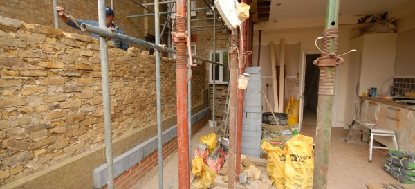 Building up the party wall - note the insulation in the cavity wall