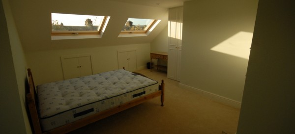 The finished loft bedroom