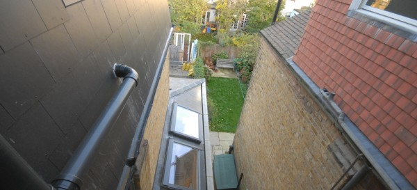 Looking down on the side return roof