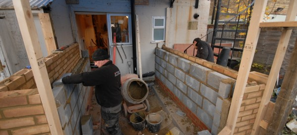 Building the walls (using 'new' bricks as opposed to reclaimed)