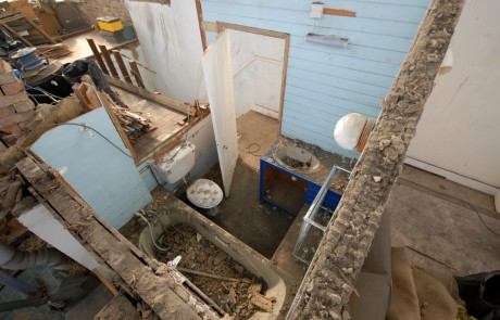 Looking down into the old bathroom - roof has been completely removed