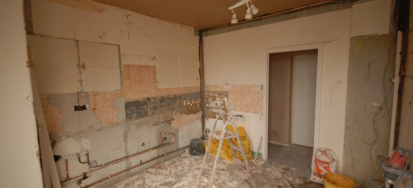 Kitchen has been stripped out and ceiling is being plastered