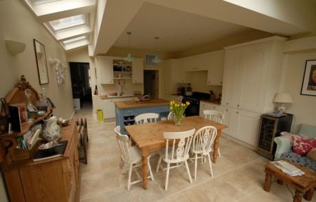 The finished kitchen in Southfields - note the VELUX windows letting in the light