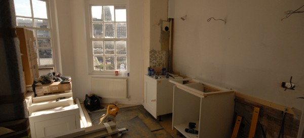 The Harvey Jones kitchen is being fitted - it will take about a week