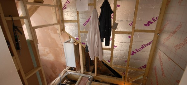 This is where the loft bathroom will be. Note the position of the small boiler which makes good use of the limited space in the loft...