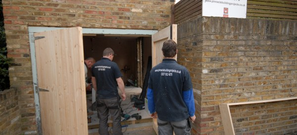 The team working on the garage in Chiswick