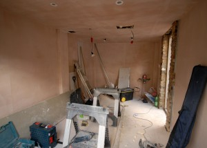 The interior of the garage - newly plastered with lighting - nearly ready for painting