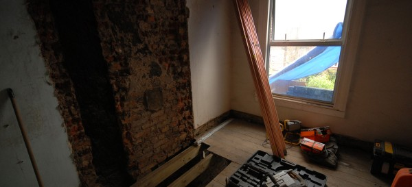 Removal of the chimney breast upstairs - this room will be split to form an ensuite bathroom and a family bathroom