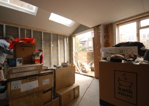 View into the new space inside the side return - this is where the kitchen will go