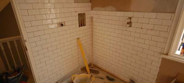 Tiling the walk-in shower area