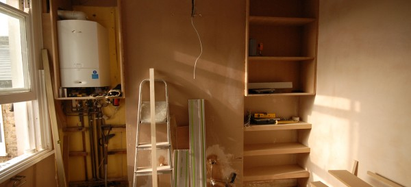 Building the floating shelves and cupboard units