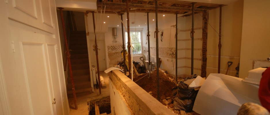 The side wall and built in cupboards will be removed to create an open plan kitchen in Shepherds Bush