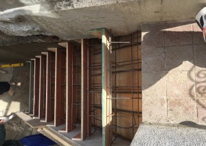 Making the staircase cast before the concrete is poured