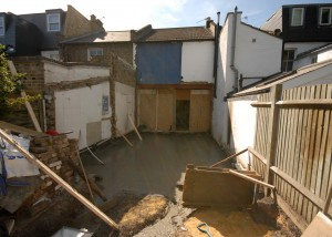 Box frame has been inserted and the concrete slab has just been poured
