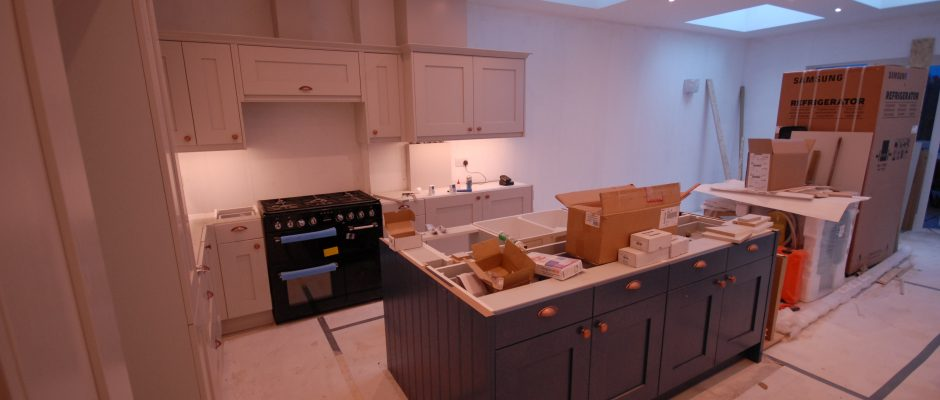 Kitchen is ready for the worktop and painting is in progress