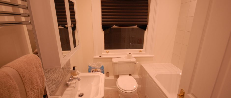 The completed bathroom with its new window