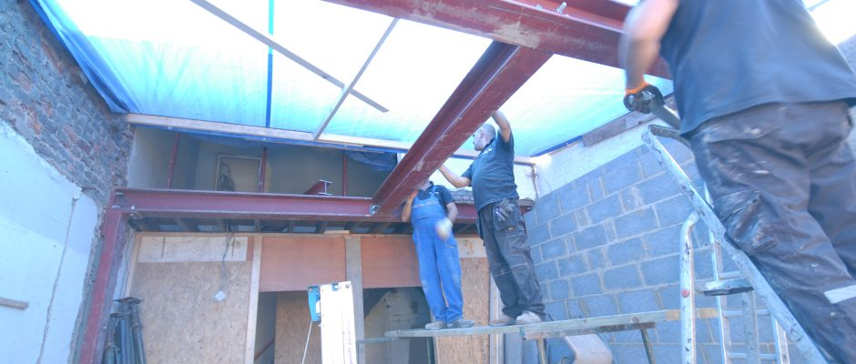 Installing the steels, ready to start building the new bedroom above