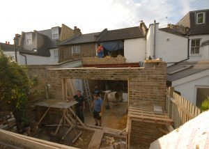 Building up the walls has started on the new first floor for the rear bedroom above