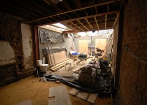 View looking out to the rear from the new kitchen and living space in Earlsfield