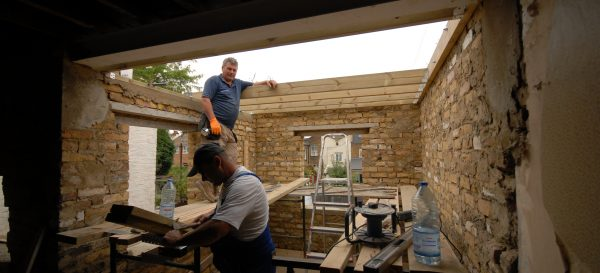 Building the walls for the new bedroom above the rear extension in Earlsfield