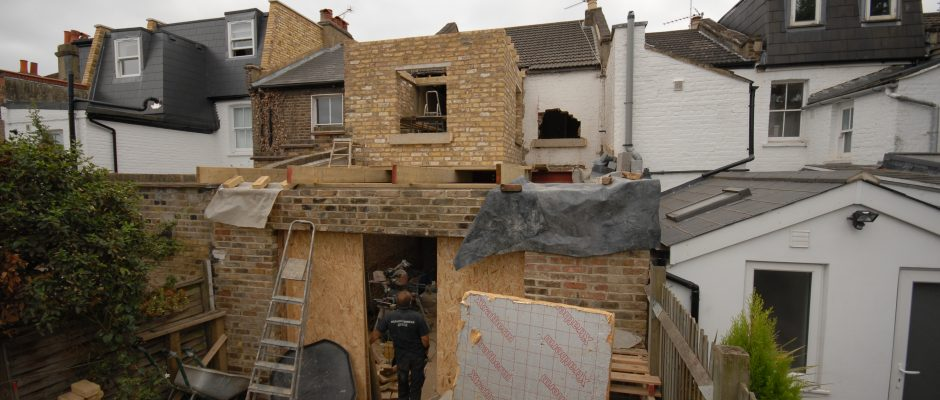Getting ready to build the flat roof on the rear extension in Earlsfield