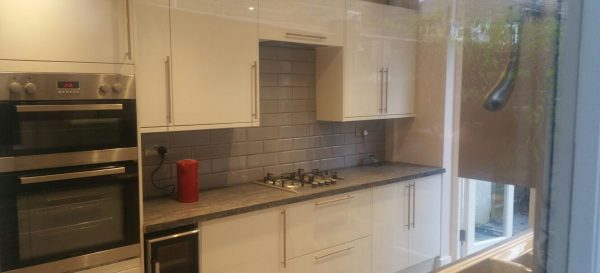 Splashback tiles (using metro tiles) on the new kitchen.