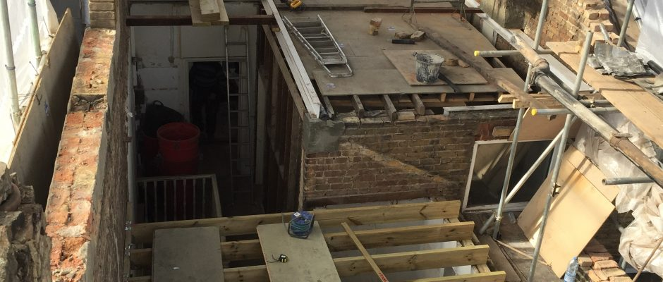 The ridge beam has been fitted so have the floor joists in the rear room