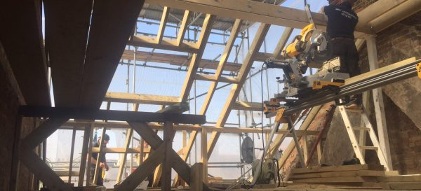 Looking up at the roof structure on this Fulham loft conversion